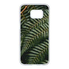 Green Leaves Photo Samsung Galaxy S7 Edge White Seamless Case
