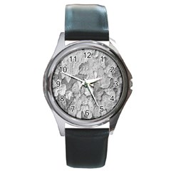 Nature Texture Print Round Metal Watch