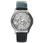 Nature Texture Print Round Metal Watch Front