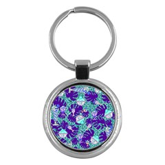 Ice Cream Tropical Pattern Blue Key Chain (round)