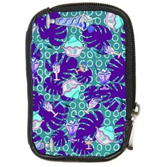 Ice Cream Tropical Pattern Blue Compact Camera Leather Case