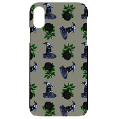 Gothic Girl Rose Grey Pattern Iphone Xr Black Uv Print Case