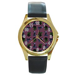 Gothic Girl Rose Mauve Pattern Round Gold Metal Watch