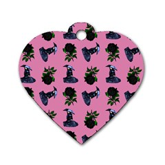Gothic Girl Rose Light Pink Pattern Dog Tag Heart (two Sides)