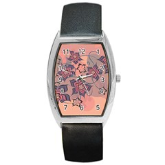 Flowers Orange Purple Warm Barrel Style Metal Watch