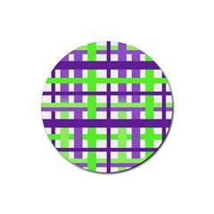 Plaid Waffle Gingham Rubber Coaster (round)  by HermanTelo
