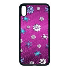 Snowflakes Winter Christmas Purple Iphone Xs Max Seamless Case (black)