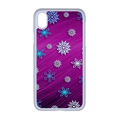 Snowflakes Winter Christmas Purple Iphone Xr Seamless Case (white)