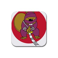 Ninja Beaver Animal Humor Joke Rubber Coaster (square)