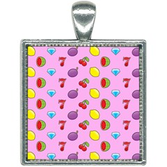 Slot Machine Wallpaper Square Necklace
