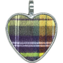 Yellow Plaid Flannel Heart Necklace by snowwhitegirl