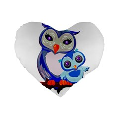 Owl Mother Owl Baby Owl Nature Standard 16  Premium Flano Heart Shape Cushions