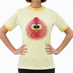 Bird Fluffy Animal Cute Feather Pink Women s Fitted Ringer T Shirt