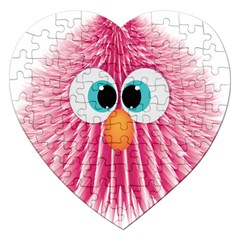 Bird Fluffy Animal Cute Feather Pink Jigsaw Puzzle (heart)