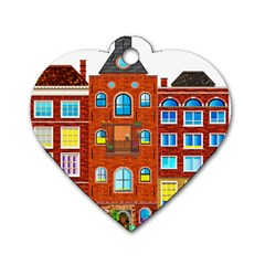 Town Buildings Old Brick Building Dog Tag Heart (two Sides)