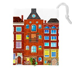 Town Buildings Old Brick Building Drawstring Pouch (xxxl) by Sudhe