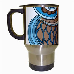 Owl Drawing Art Vintage Clothing Blue Feather Travel Mugs (white)