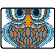 Owl Drawing Art Vintage Clothing Blue Feather Fleece Blanket (large)  by Sudhe
