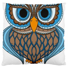 Owl Drawing Art Vintage Clothing Blue Feather Large Cushion Case (two Sides)