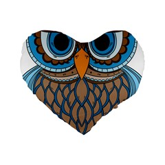 Owl Drawing Art Vintage Clothing Blue Feather Standard 16  Premium Heart Shape Cushions by Sudhe
