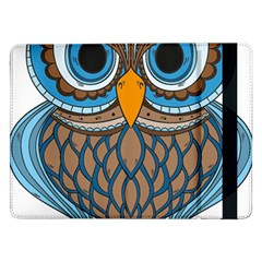 Owl Drawing Art Vintage Clothing Blue Feather Samsung Galaxy Tab Pro 12 2  Flip Case by Sudhe