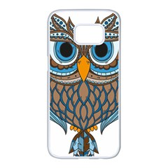 Owl Drawing Art Vintage Clothing Blue Feather Samsung Galaxy S7 Edge White Seamless Case by Sudhe