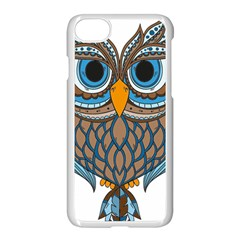 Owl Drawing Art Vintage Clothing Blue Feather Iphone 7 Seamless Case (white) by Sudhe