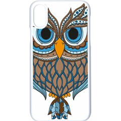 Owl Drawing Art Vintage Clothing Blue Feather Iphone Xs Seamless Case (white)