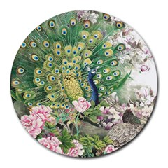 Peafowl Peacock Feather Beautiful Round Mousepads