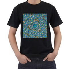 Abstract Background Futuristic Handcraft Men s T Shirt (black) (two Sided)