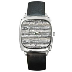 Striped Grunge Print Design Square Metal Watch by dflcprintsclothing