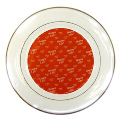 Motivational Happy Life Words Pattern Porcelain Plates