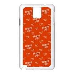 Motivational Happy Life Words Pattern Samsung Galaxy Note 3 N9005 Case (white)