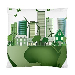 Vector Energy Saving Caring For The Earth Standard Cushion Case (one Side) by Bejoart