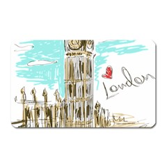 Big Ben Paris Clock Tower Vector Painted London Magnet (rectangular)