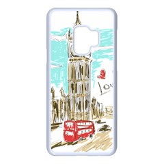 Big Ben Paris Clock Tower Vector Painted London Samsung Galaxy S9 Seamless Case(white) by Bejoart