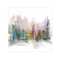 Drawing Watercolor Painting City Small Satin Scarf (square)