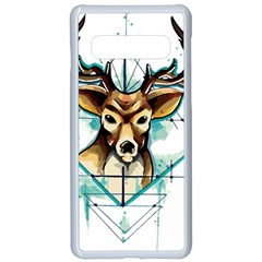 Deer Unicorn Tattoo Drawing Vector Watercolor Samsung Galaxy S10 Seamless Case(white)
