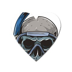 Skull Underwater Diving Skeleton Diving Head Heart Magnet by Bejoart