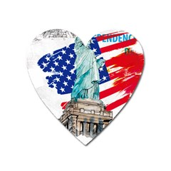 Statue Of Liberty Independence Day Poster Art Heart Magnet by Bejoart