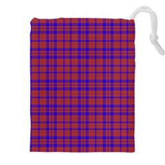 Pattern Plaid Geometric Red Blue Drawstring Pouch (xxxl)
