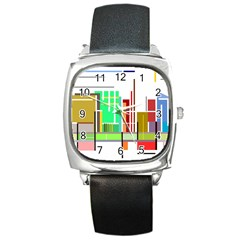 Business Finance Statistics Graphic Square Metal Watch by Simbadda