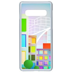 City Modern Business Skyscrapers Samsung Galaxy S10 Seamless Case(white) by Simbadda