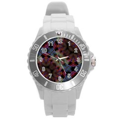 Animated Ornament Background Fractal Art Round Plastic Sport Watch (l) by Simbadda