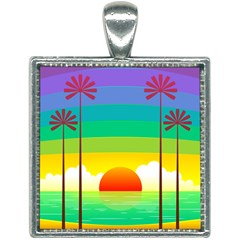 Seaside Sunrise Colorful Ocean Sea Square Necklace by Simbadda