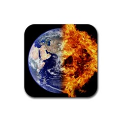 Earth World Globe Universe Space Rubber Square Coaster (4 Pack)