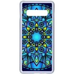 Mandala Blue Abstract Circle Samsung Galaxy S10 Plus Seamless Case(white)