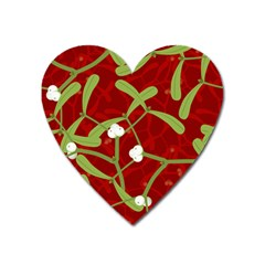 Mistletoe Christmas Texture Advent Heart Magnet by Simbadda