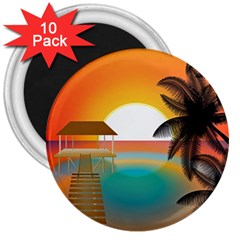 Sunset Beach Beach Palm Ocean 3  Magnets (10 Pack)  by Simbadda
