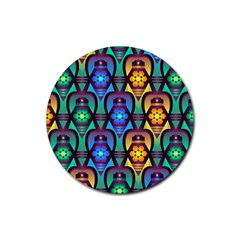 Pattern Background Bright Blue Rubber Round Coaster (4 Pack)  by Simbadda